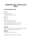 Chemistry 1027A/B Chapter Notes -Molar Mass, Chemical Formula, Atomic Number