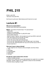 PHIL215 Lecture Notes - S&P 500 Index, Elitism, Deontological Ethics