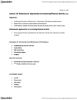 Kinesiology 2276F/G Lecture Notes - Lecture 14: Ethology, Randomized Controlled Trial