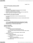 Kinesiology 2276F/G Lecture Notes - Lecture 18: Somatotype And Constitutional Psychology, Autonomic Nervous System, Psychoticism
