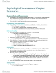 Psychological Measurement (PSYC 3250) Chapter Summaries- Ch 1-17