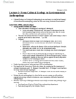 ANT370H1 Lecture Notes - Lecture 5: Environmental Policy, Marvin Harris, Sweet Potato