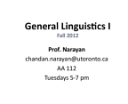 LINA01H3 Lecture Notes - Dravidian Languages, Bantu Languages, Assistant Professor