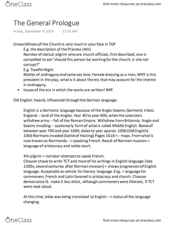 Class Notes for Lorcan Fox - OneClass