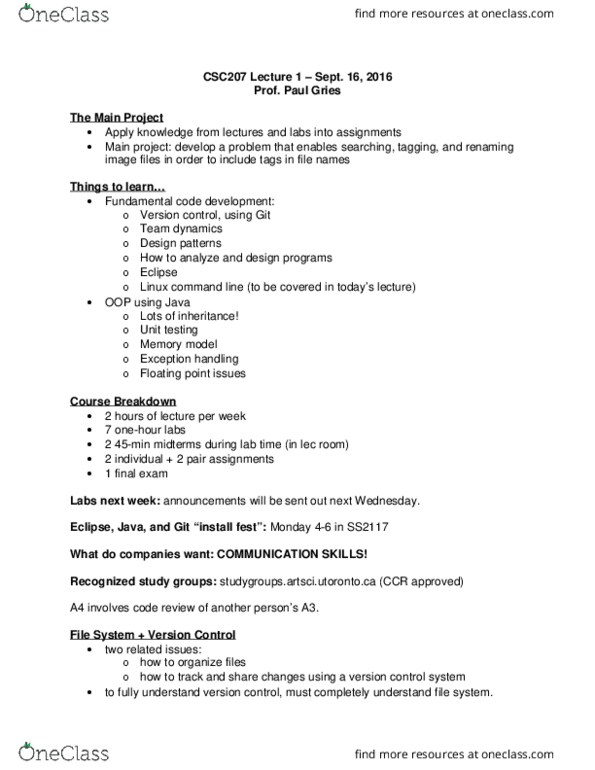 CSC207H1 Lecture Notes - Fall 2016, Lecture 1 - Version