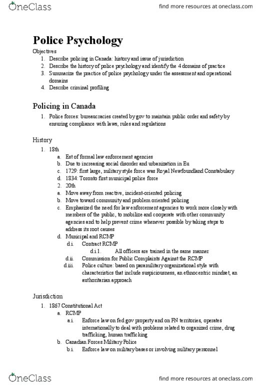 PSYC 268 Lecture Notes - Lecture 11: Royal Newfoundland Constabulary,  Police Psychology, Problem Solving