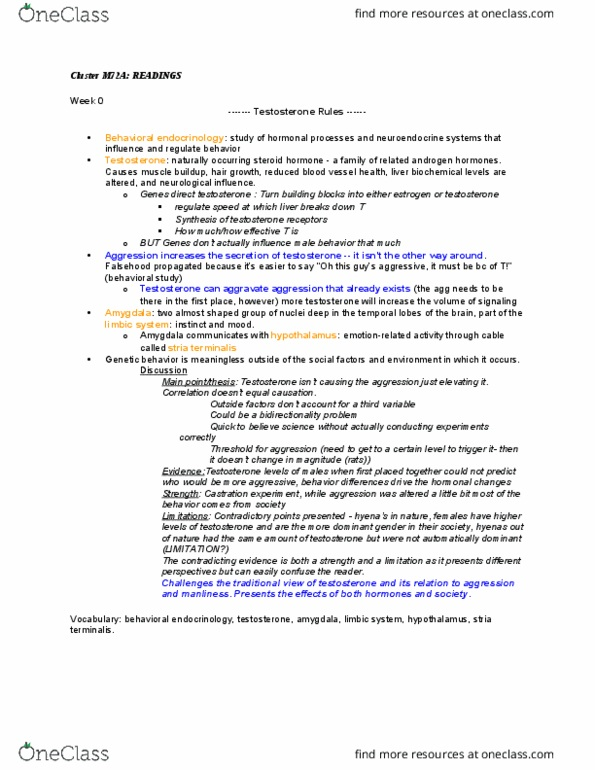 Class Notes for General Education Clusters at University of
