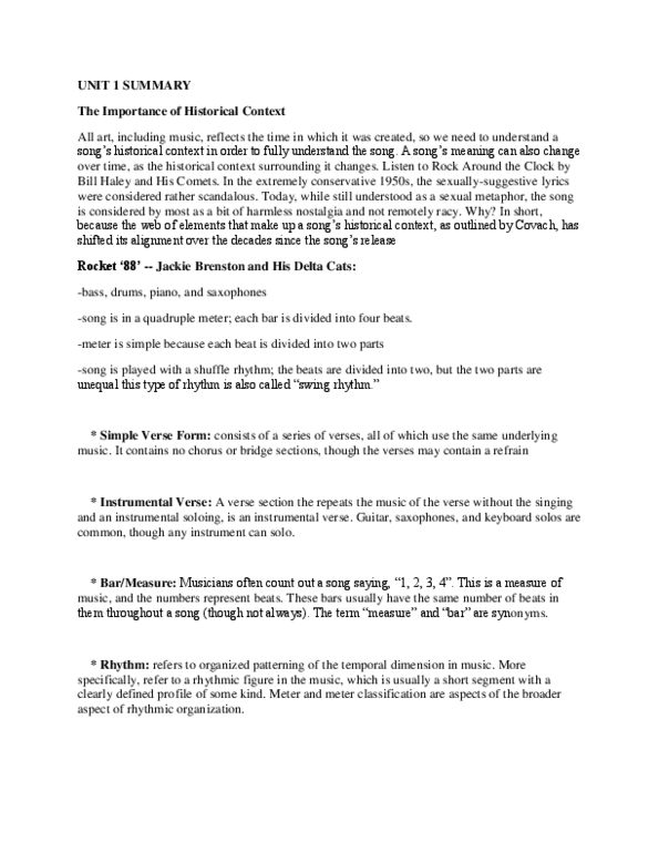 Music objectives and summary questions answered docx - OneClass