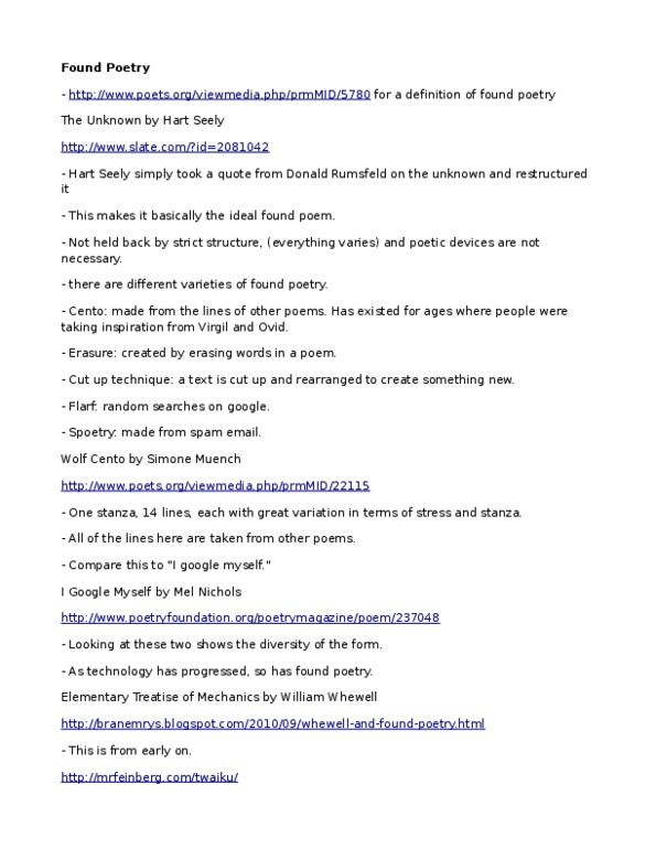 ENGL 345 Lecture Notes - Fall 2011, - Flarf Poetry, Assonance, Annie