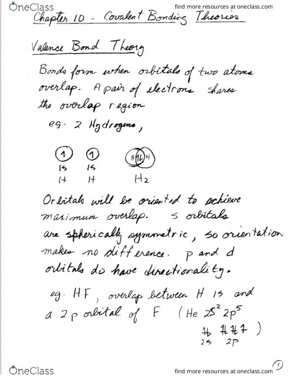 CHEM 209 Quiz: 14 - Valence Bond Theory - OneClass