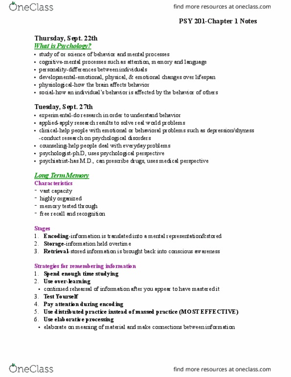 PSY 201 Textbook Notes - Fall 2016, Chapter 1 - Naturalistic