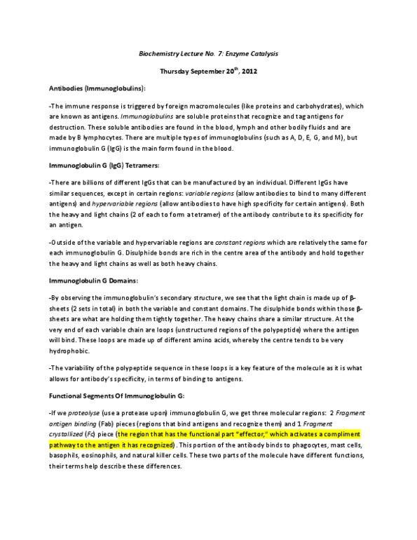 Biochemistry 3380G Lecture Notes - Hyperbola, Hydroxylation, Immunoglobulin  Light Chain