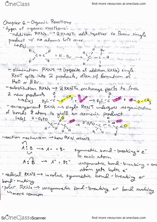 All Educational Materials for CHEM 261 at University of
