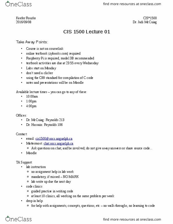 CIS1500 Lecture 1: CIS1500 week 1-2 pdf