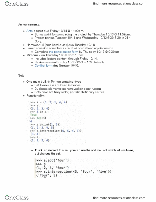 COMPSCI 61A Lecture 20: CS61A-Lecture 10-12-2016 - OneClass