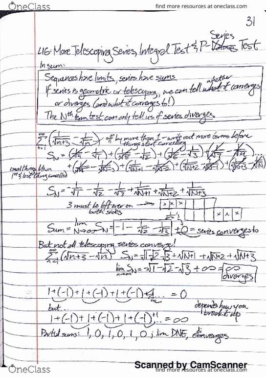 MATH 0100 Lecture 16: Integral Test and P-Series