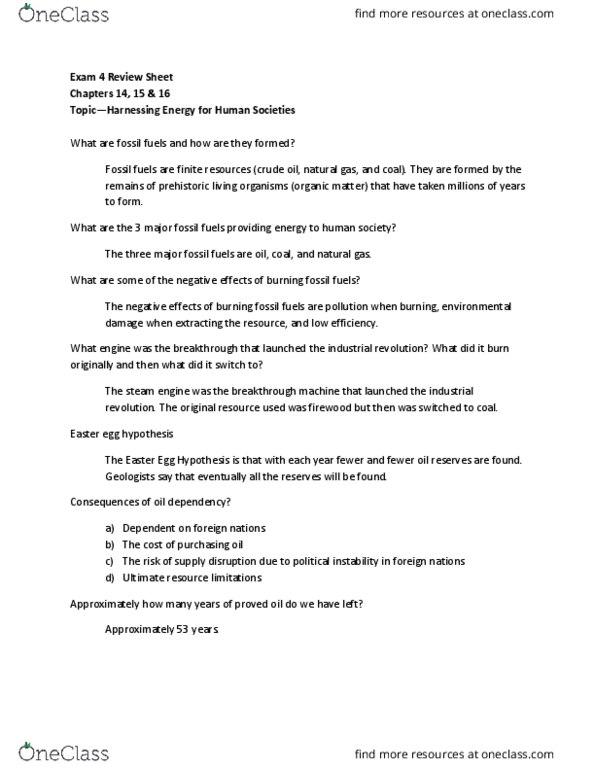 ENV 101 Quiz: Exam 4 Review Sheet - OneClass