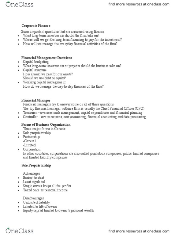 HTA 602 Lecture Notes - Lecture 1: Capital Budgeting, General Partnership,  Limited Partnership