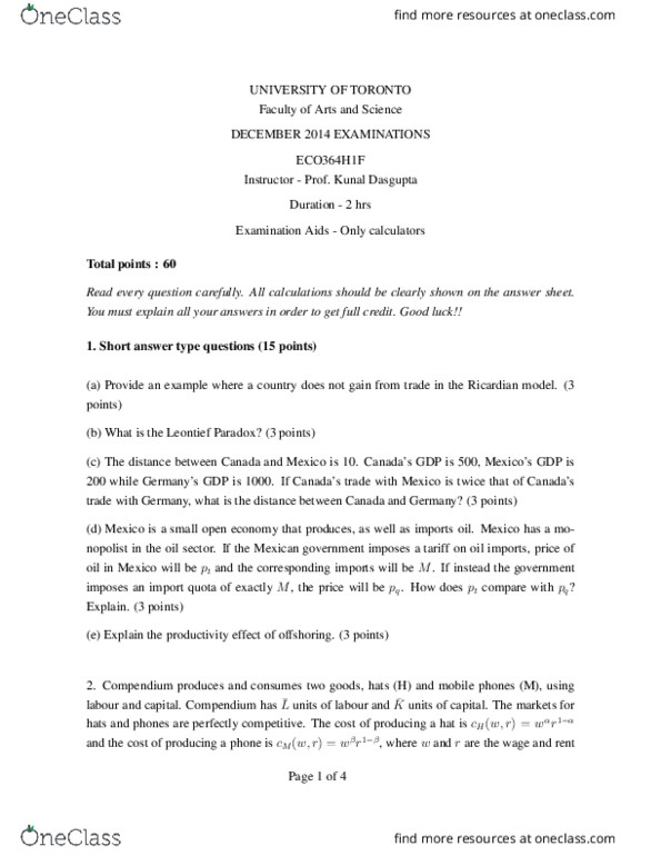 ECO364H1 Study Guide - Final Guide: Leontief Paradox, Tariff, Import Quota