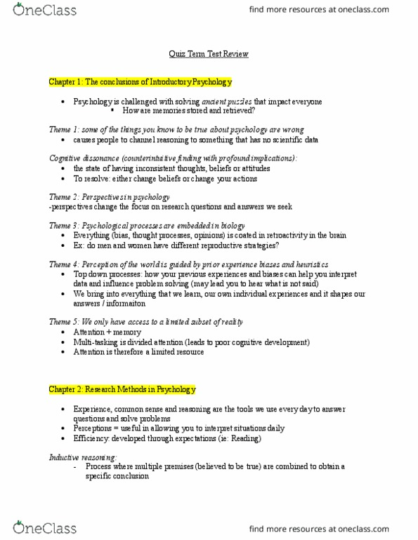 PSYCH 1X03 Study Guide Fall 2016 Midterm Table Tennis