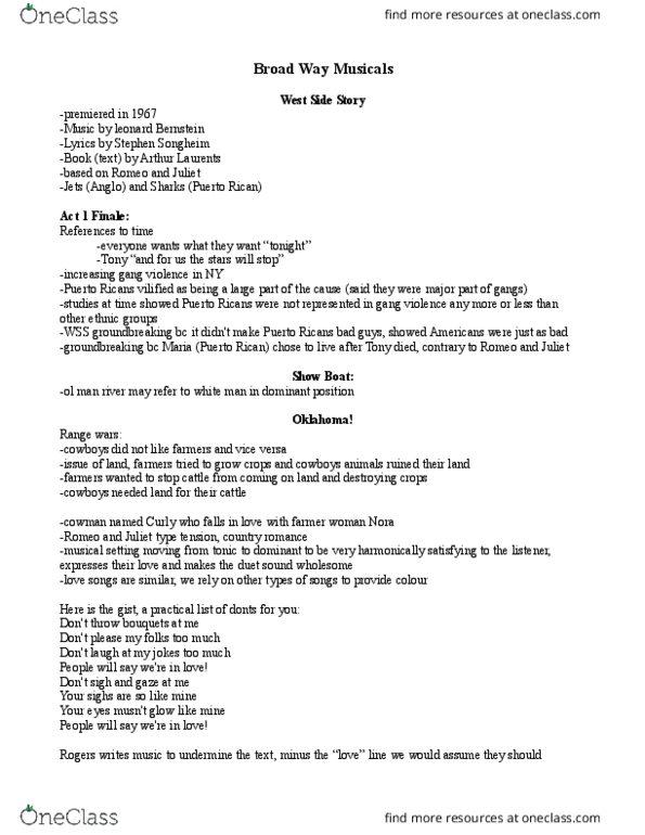 MU100 Lecture Notes - Lecture 15: Leonard Bernstein