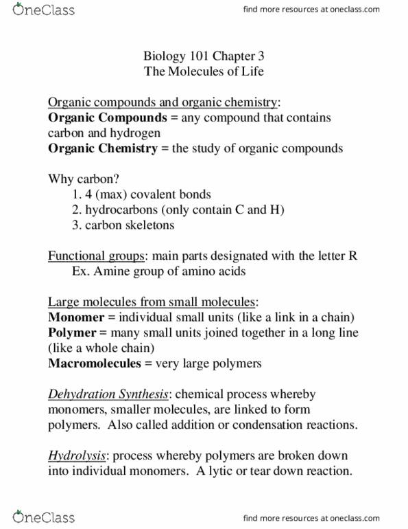 CAS BI 107 Textbook Notes - Fall 2016, Chapter 3 - Organic