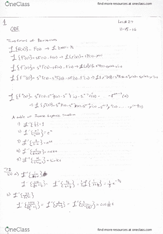 MATH 2306 Chapter 7 2: Sect  7 2 Inverse Transform HW Worked Out