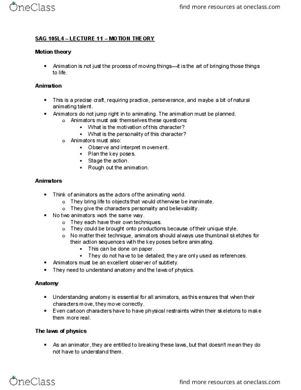 Class Notes for SAG 105L at Eastern Michigan University (EMU) - OneClass