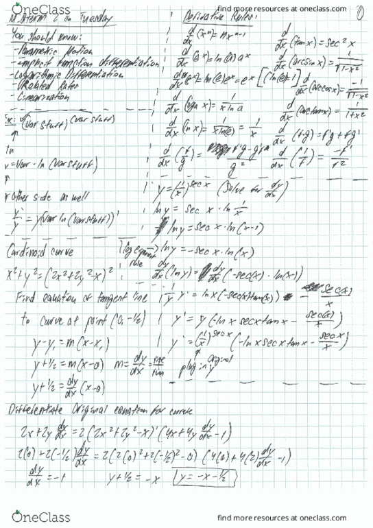 All Educational Materials for MATH 124 at University of