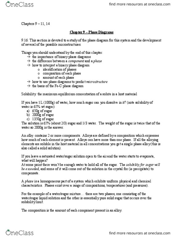 math 1m03 study guide - winter 2015, final - phase diagram, starflight,  microstructure