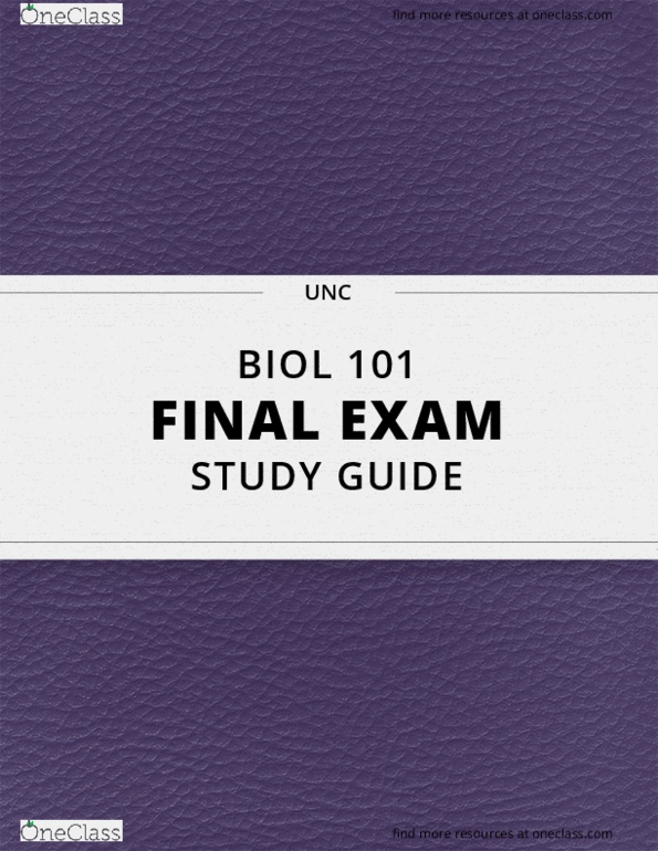 [BIOL 101] - Final Exam Guide - Comprehensive Notes for the exam (80 pages  long!)