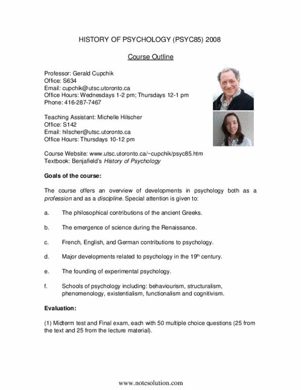 PSYC85H3 Lecture Notes - Existentialism, Experimental Psychology,  Behaviorism