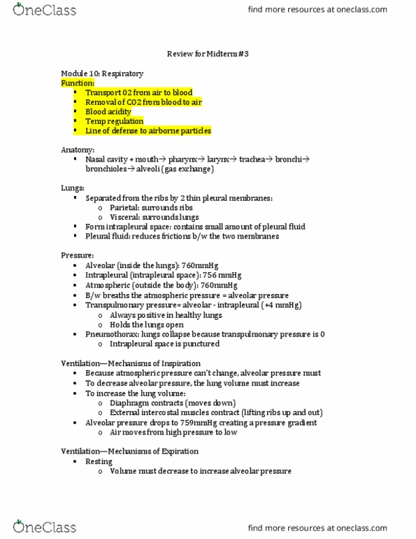 Study Guides for Physiology 1020 at Western University (UWO