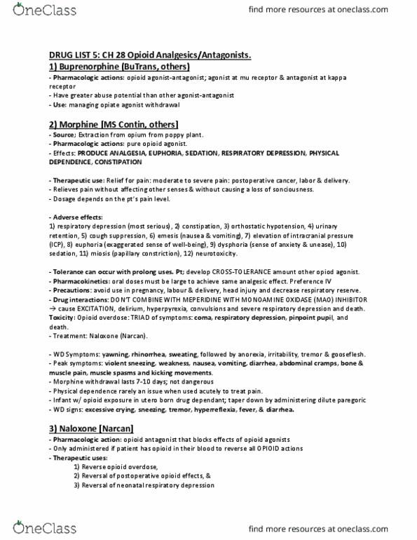PHA 3112 Study Guide - Winter 2015, Final - Opioid
