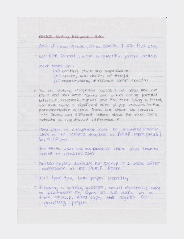 psy353 writing assignment notes doc - OneClass