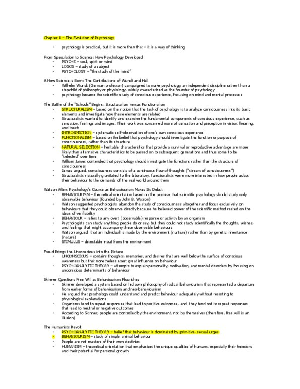 Textbook Notes for Psychology at University of Toronto Mississauga