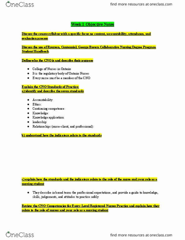 Class Notes for suealbanese - OneClass