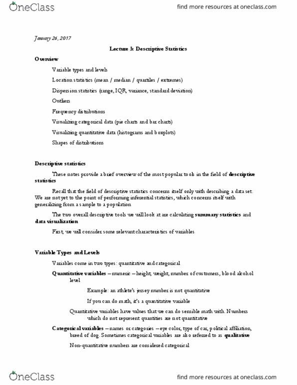 STAT 311 Lecture Notes - Lecture 5: Likert Scale, Descriptive Statistics,  Summary Statistics