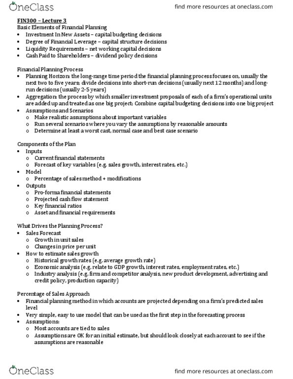 FIN 300 Lecture Notes - Fall 2015, Lecture 3 - Cash Flow