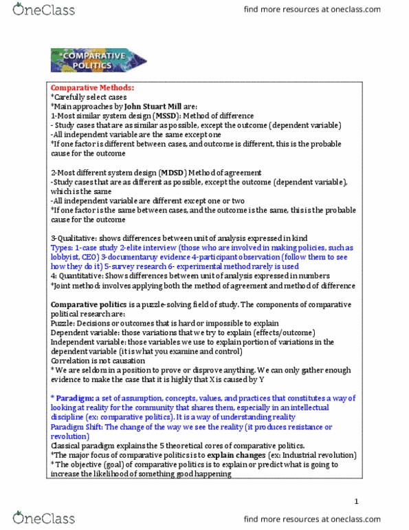 Inta 3203 Study Guide Fall 2016 Final Comparative Politics Periphery Countries Free Rider Problem