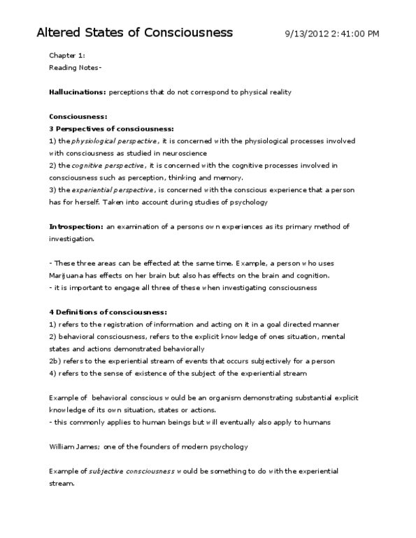 Altered States of Consciousness Reading docx - OneClass