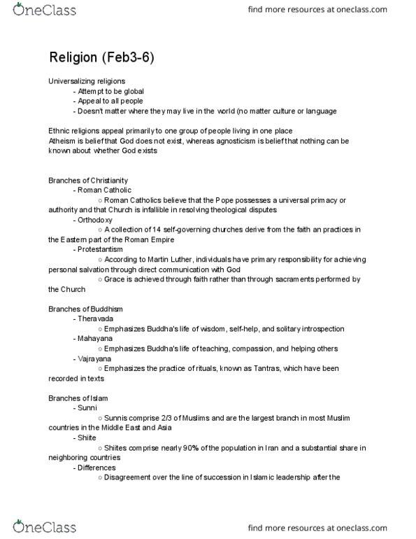 GEO-1400 Lecture Notes - Lecture 5: Guru Nanak, Gautama Buddha, Ethnic  Religion