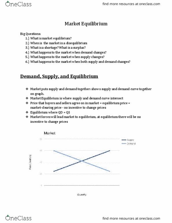 EC 201 Lecture 4: Market Equilibrium - OneClass