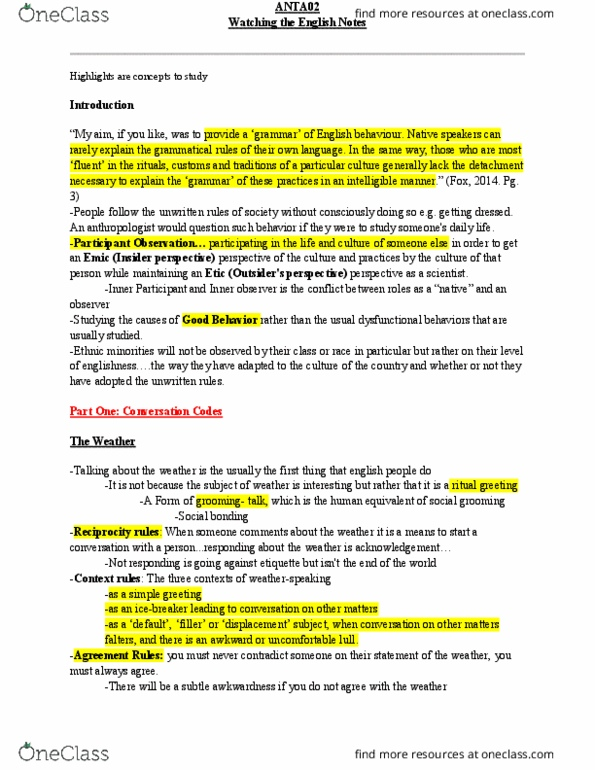 ANTA02H3 Textbook Notes - Winter 2017, Chapter 1 - Upper
