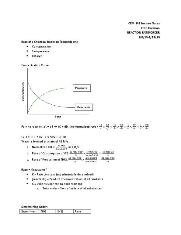 CEM 142 Study Guide - Spring 2013, Midterm - Total Order