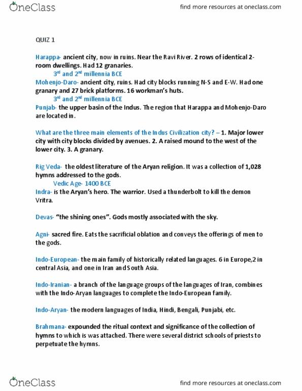 HIST 120 Study Guide - Quiz Guide: Upanishads, Rigveda, Ravi River