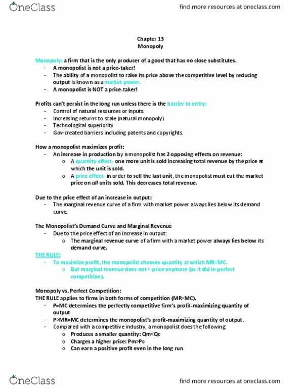 ECON 202 Lecture Notes - Lecture 13: Marginal Revenue, Natural Monopoly,  Market Power