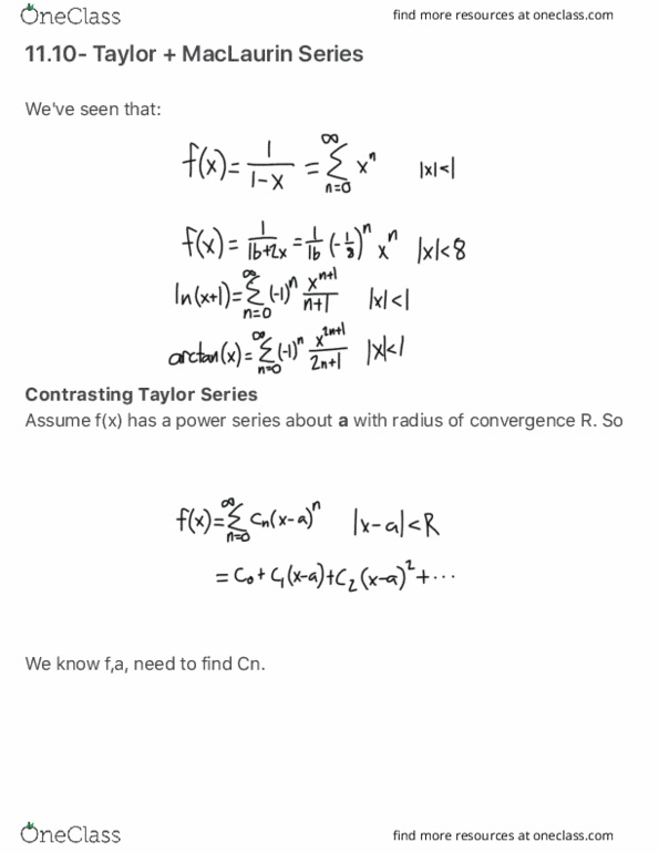 MATH 1272 Lecture Notes - Spring 2016, Lecture 1 - Taylor