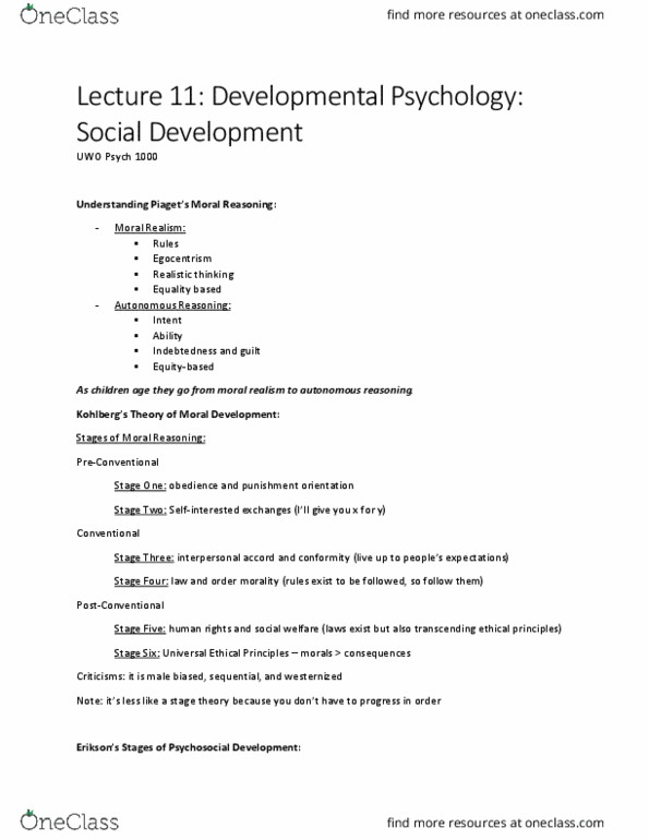 Psychology 1000 Lecture Notes - Lecture 11: Moral Realism, University Of  Western Ontario, Egocentrism