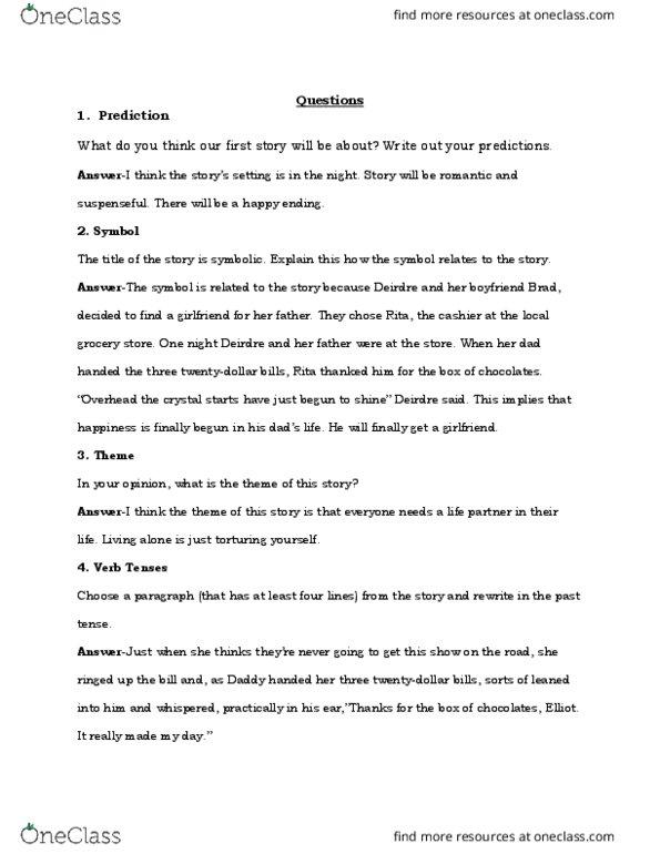 Engl 0000el Quiz Questions Oneclass